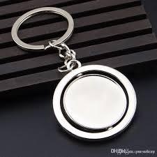 round key rings images Round rotating blank keychain pendant key chain metal silver key jpg