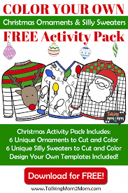 free color your own ornaments and silly sweaters
