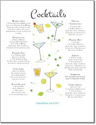 printable shot recipes traditional cocktails menu in art deco style free printables and