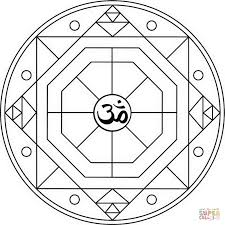 geometric mandala with om symbol coloring page free printable
