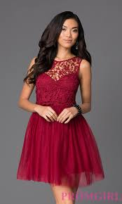 image of short lace bodice fit and flare dress with bow style lp