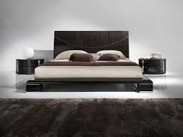 casual bedroom design with black headboard and marvelous floating
