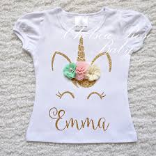 Unicorn Clothes For Girls Pink And Gold Unicorn Birthday Shirt Personalized Unicorn