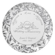 25th wedding anniversary plates silver wedding anniversary plates zazzle au