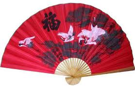 asian fan three cranes in the lucky color asian wall fan asian home