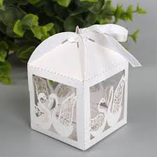 wedding boxes 50pcs paper laser cut gift swan candy boxes wedding party favors