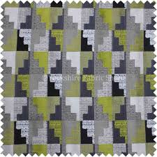 Upholstery Fabric Geometric Pattern Raised Velvet Geometric Pattern In Grey Lime Green Colour