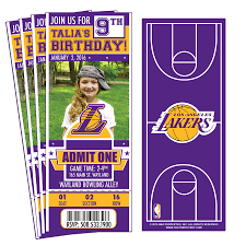 custom birthday invitations 12 custom los angeles lakers birthday party ticket invitations