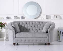 chesterfield sofa in fabric casey chesterfield grey plush fabric 2 seater loungeliving co uk