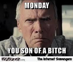 Bitch Meme - monday you son of a bitch meme pmslweb