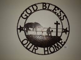 Western Home Decorations God Bless Our Home Cowboys Prayer Church Metal Wall Art Western