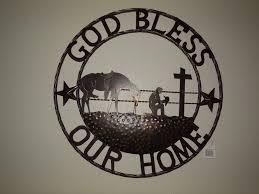 god bless our home cowboys prayer church metal wall art western