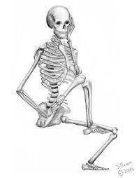 drawn skeleton sad pencil and in color drawn skeleton sad