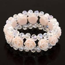 flower beads bracelet images New handmade crystal bracelet rose flower beads bracelets bangles jpg