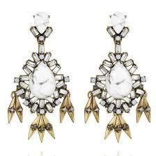 White Chandelier Earrings Wholesale Statement White Natural Stone Big Chandelier Earrings