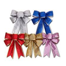christmas ribbons and bows color large silver gold christmas ribbon bow christmas tree