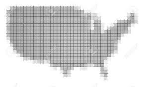 Black And White United States Map by United States Map Pixels Mosaic Easy To Recolor Stock Photo