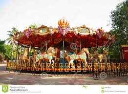 merry go in empty theme park royalty free stock image