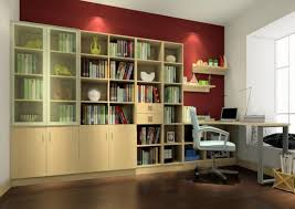 interior design of study room with bookcase 3d house