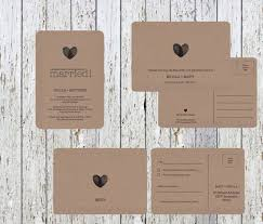 postcard wedding invitations kraft rustic paper wedding invitation thank you postcard rsvp