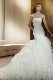 mermaid white wedding dresses with beautiful train buy cheap