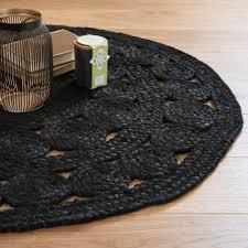 la maison du kilim tapis rond en jute noir d 90 cm ébène maisons du monde