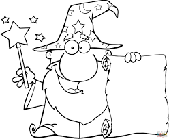 jafar coloring pages wizard waving with magic wand and holding up a scroll coloring