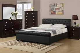 black scroll tufted design full size platform bed night stand