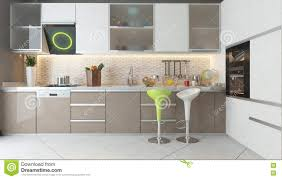 kitchen design with white and cappuccino color wooden furniture