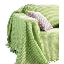 plaid jeté de canapé plaid jeté canapé jacquard style vichy vert t270x250cm achat
