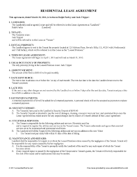 rental lease agreement word template free printable residential lease agreement free lease rental