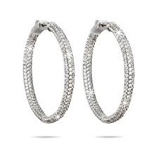 silver hoop earrings inside outside pave cz hoop earrings s addiction