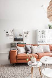 Orange Sofa Living Room Ideas Decorative Pillows For Brown Leather Brown Leather
