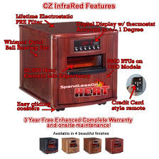 Comfort Zone Heater Fan 1500 Watt Cz Infrared Home Space Heater With Cherry Wood Cabinet