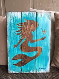 wooden mermaid wall stained or painted mermaid silhouette on painted or stained pallet