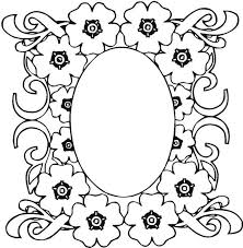 mosaic flower frame coloring free printable 11455
