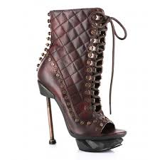burgundy destressed steampunk granny boot peep toe bolt heel