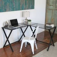 Glass L Shaped Computer Desk by Ameriwood Home Odin Glass L Shaped Computer Desk By Ameriwood Home