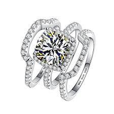 engagement jewelry sets silver bridal engagement ring sets 3pcs 3 carat d e f
