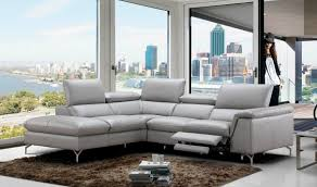 Left Sectional Sofa Viola Premium Leather Sectional Sofa In Light Grey Free Shipping