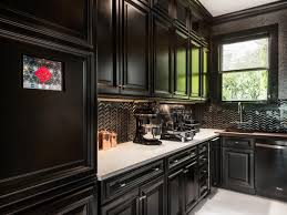 kitchen black kitchen cabinets and lowes backsplash also white