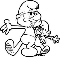 papa smurf and baby smurf hug coloring page wecoloringpage