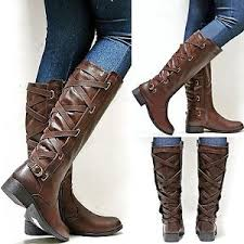 s boots knee high brown womens ya3 brown knee high cowboy boots sz 6 to 11 ebay