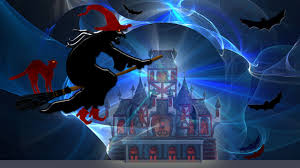 halloween black cat wallpaper wicked witch hovers on broomstick with black cat watching
