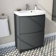 erin floor mounted 900 mm vanity unit grey elm with white glass