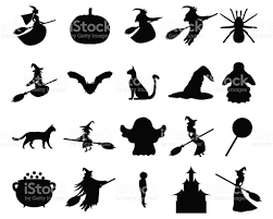 halloween silhouette vector silhouettes set for halloween party stock vector art 614444798