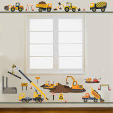 four construction vehicles with straight gray road and large four construction vehicles with straight gray road and large construction site wall decals wall dressed