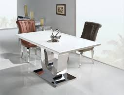 marble and stainless steel dining table bernhardt interiors dining room quentin metal 31273 aglf info