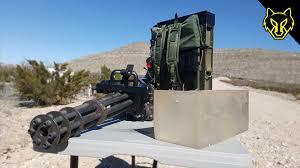 handheld minigun vs ballistics gel youtube