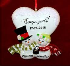 blissful engagement personalized ornaments by
